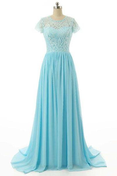 Nice Teal A-Line Scoop Neck Lace Chiffon Sweep Train Ruffles Short Sleeve Long Prom Dresses