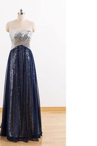 Navy Empire Sweetheart Chiffon Sequined Floor-Length Ruffles Cheap Long Prom Dresses