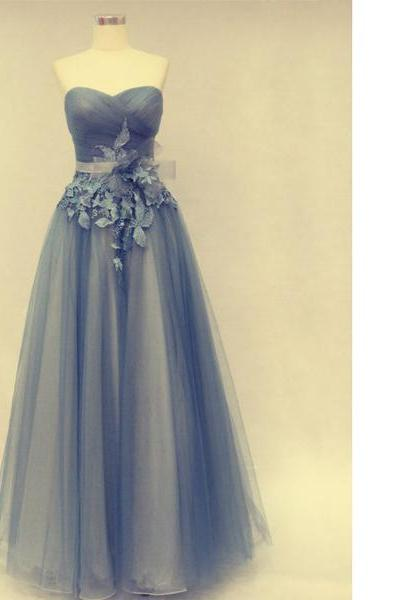 Gray A-Line Sweetheart Tulle Floor-Length Appliques Lace Elegant Long Prom Dresses