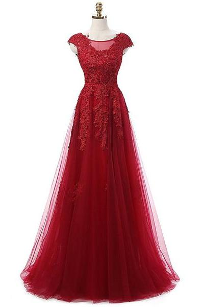 Noble A-Line Scoop Neck Tulle Floor-Length Appliques Lace Sequins Burgundy Long Prom Dresses
