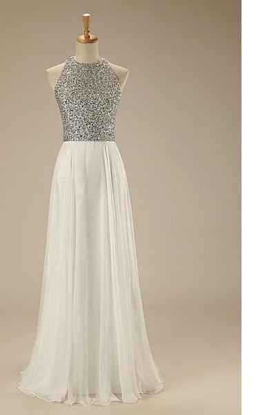 White A-Line Scoop Neck Chiffon Floor-Length Beading Open Back Sparkle Shine Famous Long Prom Dresses