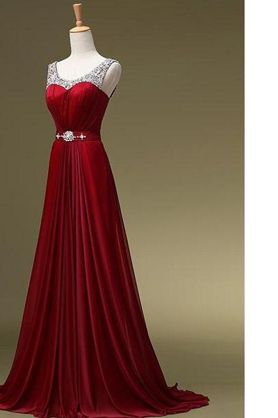 A-Line Scoop Neck Chiffon Sweep Train Beading Crystal Detailing Sashes/Ribbons Wholesale Burgundy Long Prom Dresses