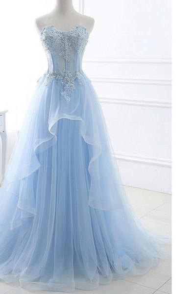 Princess Sweetheart Lace Tulle Sweep Train Appliques Lace Lace-Up Blue Long Prom Dresses