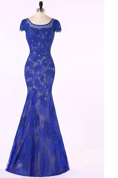 Backless Trumpet/Mermaid Scoop Neck Royal Blue Lace Tulle Short Sleeve Open Back Prom Dresses