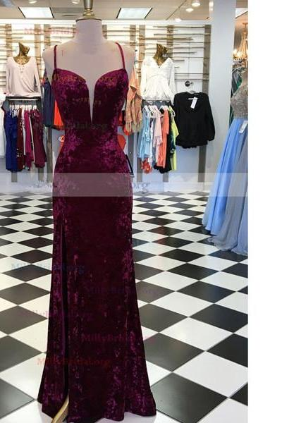 Sheath/Column V-Neck Velvet Sweep Train Split Front Open Back Long Prom Dresses