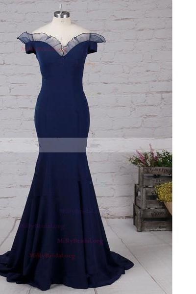 Trumpet/Mermaid Off-The-Shoulder Elastic Woven Satin Floor-Length Navy Long Prom Dresses