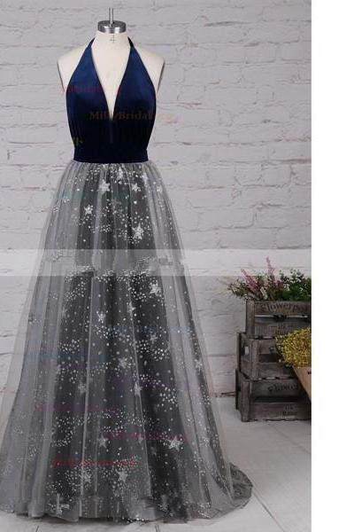 Princess Halter Tulle Velvet Sweep Train Sequins Open Back Long Prom Dresses