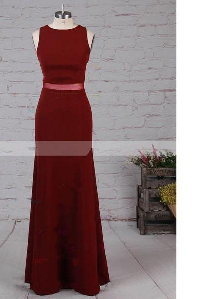 Sheath/Column Scoop Neck Tulle Elastic Woven Satin Sweep Train Burgundy Long Prom Dresses