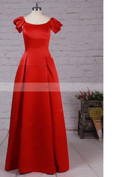 A-Line Scoop Neck Satin Floor-Length Red Elegant Long Prom Dresses