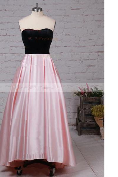 Ball Gown Strapless Satin Asymmetrical Pockets High Low Pink Long Prom Dresses