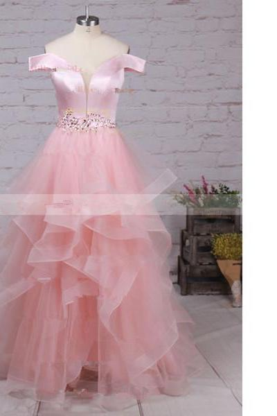 Ball Gown Off-The-Shoulder Satin Organza Floor-Length Beading Cascading Ruffles Pink Long Prom Dresses