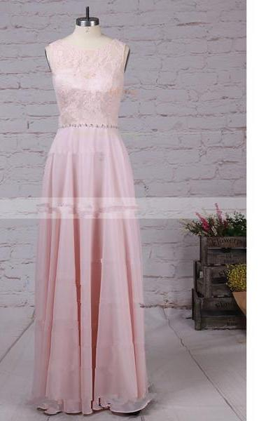 A-Line Scoop Neck Lace Chiffon Floor-Length Beading Sweet Flow Pink Long Prom Dresses