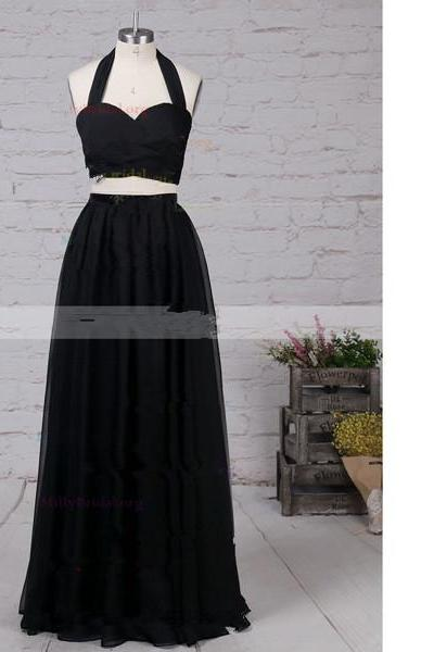 A-Line Halter Chiffon Floor-Length Sashes/Ribbons Two-Pieces Black Long Prom Dresses