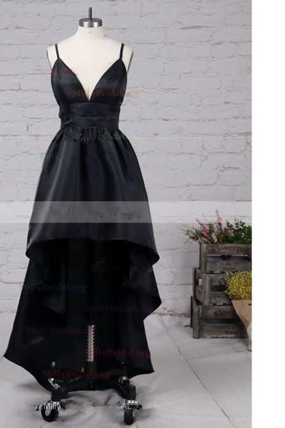 A-Line V-Neck Satin Asymmetrical Open Back High Low Black Long Prom Dresses