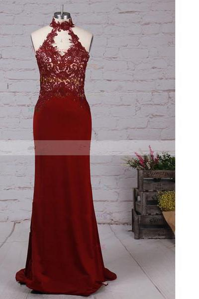Sheath/Column High Neck Tulle Jersey Floor-length Beading Open Back Burgundy Long Prom Dresses