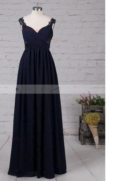 Empire V-Neck Chiffon Floor-Length Appliques Lace Sweet Flow Dark Navy Long Prom Dresses