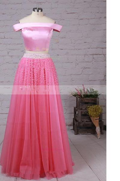 Princess Off-The-Shoulder Satin Tulle Floor-Length Beading Sashes/Ribbons Pink Long Prom Dresses
