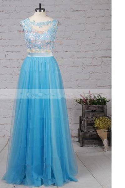 A-Line Scoop Neck Tulle Sweep Train Appliques Lace Blue Long Prom Dresses