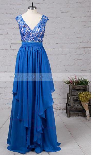 A-Line V-Neck Lace Chiffon Floor-Length Beading Open Back Sweet Flow Long Prom Dresses