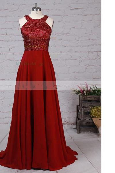 A-Line Scoop Neck Chiffon Satin Sweep Train Beading Open Back Burgundy Long Prom Dresses
