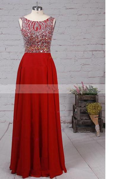 A-Line Scoop Neck Chiffon Tulle Floor-Length Beading Open Back Burgundy Long Prom Dresses