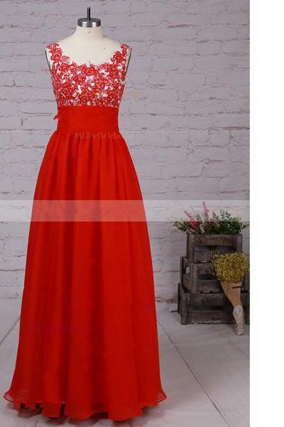 A-Line Scoop Neck Chiffon Floor-Length Beading Red Long Prom Dresses