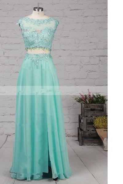 A-Line Scoop Neck Chiffon Tulle Sweep Train Split Front Open Back Long Prom Dresses
