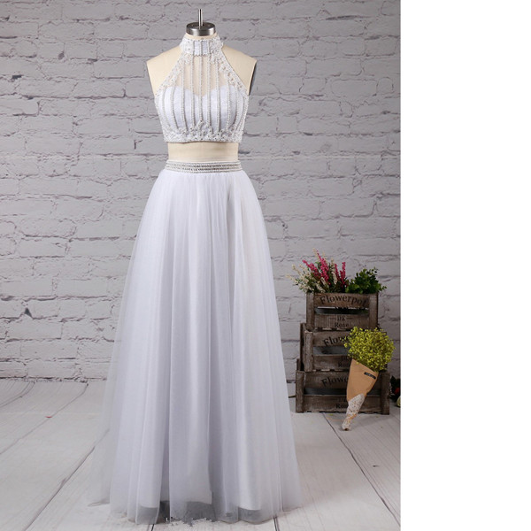 A-Line High Neck Tulle Floor-Length Beading Two-Pieces Open Back Ivory Long Prom Dresses
