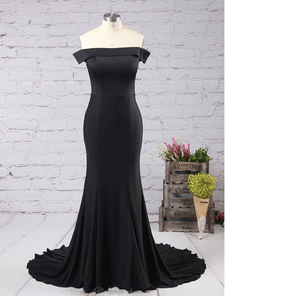 Jersey Off-The-Shoulder Trumpet/Mermaid Sweep Train Ruffles Black Long Prom Dresses