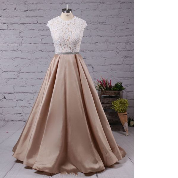 Ball Gown Scoop Neck Lace Taffeta Floor-Length Sashes/Ribbons Open Back Long Prom Dresses