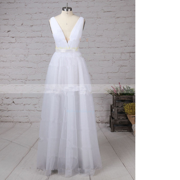 A-Line V-Neck Tulle Floor-Length Sashes/Ribbons Open Back White Long Prom Dresses