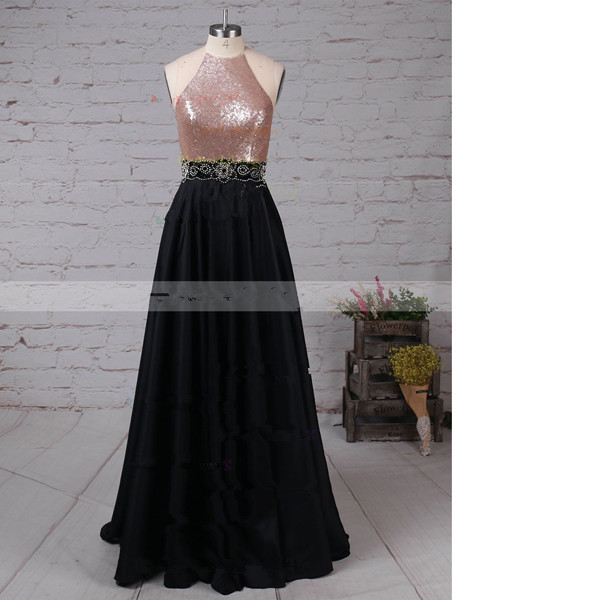 A-Line Scoop Neck Satin Sequined Floor-Length Beading Black Long Prom Dresses