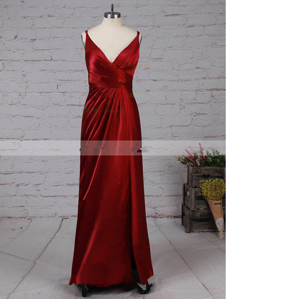 Sheath/Column V-Neck Silk-Like Satin Floor-Length Split Front Burgundy Long Prom Dresses