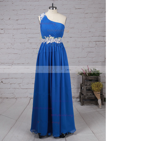 Empire One Shoulder Chiffon Floor-Length Beading Long Prom Dresses