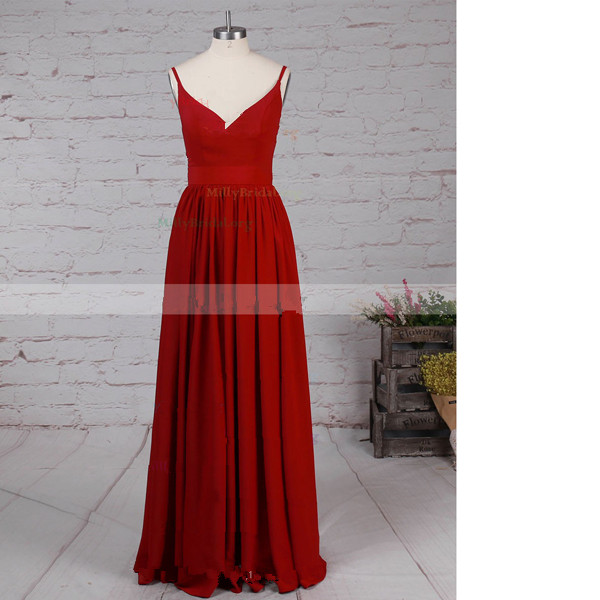 A-Line V-Neck Chiffon Floor-Length Sashes/Ribbons Open Back Burgundy Long Prom Dresses
